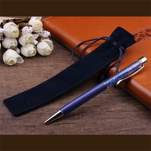 A-Eco-Friendly Pencil Velvet Pen Holder Single Pencil Case With Rope For Rollerball Fountain Ballpoint Pens School Office Stationery Gift