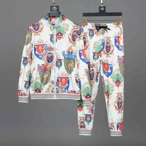 남성 의류 필립 일반 정장 긴 소매 트랙스 재킷 세트 패션 실행 남자 스포츠 슈트 레터 인쇄 슬림 럭셔리 스포츠웨어