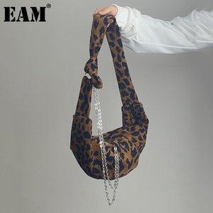 [EAM] Mujeres Nuevas cadenas de leopardo Hobos Capacidad de gran capacidad Personalidad Todo-Match Bolsa de hombro Crossbody Moda 2021 18A1011