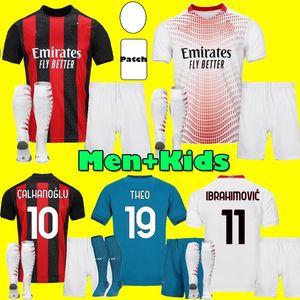 Männer Kids Kit 20 21 Ibrahimovic AC Fussball Trikots 2020 2021 Piatek Home Dritter Football Hemd Paqueta Theo Uniformen Mailand Maillot de Foo