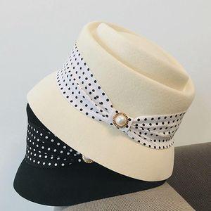Best New Fashion Women Cloche Bucket Winter Elegant Black White Bow Ladies Fedora Hat Wool Felt Hat Warm Church Dress Wool Hat