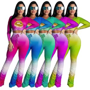 womens sportswear long sleeve yoga printing shirt legging 2 piece set outfits jacket pants tracksuit bodycon sportsuit klw0460
