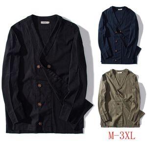 Nice High Quality Jackets Fashion Men's Cotton Linen Solid Long Sleeve Shirt Button Top Blouse Coat Men Jacket Jaqueta Masculina