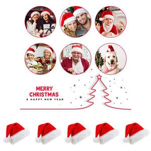 5pcs Christmas Santa Hat Plush Velvet Thick Warm Plush Cute Santa Claus Fancy Dress Hat Suitable For Adult Xmas New Year Festive