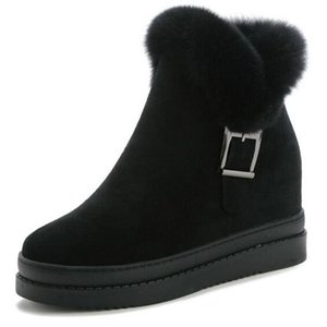 Yüksek Topuklar Ayak bileği Kadınlar Ayakkabı içinde Yeni Moda Saç Mat Deri Kış Çizme Kadınlar Kar Boots Artış