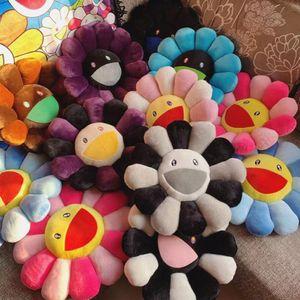 Nouveau 40cm Kawaii Murakami Coussin de tournesol Fleur doux Poupée en peluche Kaikai Kiki Coussin de coussin de peluche coloré