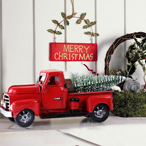 Vintage Red Metal Truck Kids Gifts Christmas Party Table Top Decor for Home