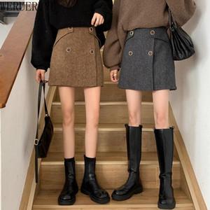 Werueruyu ретро женщина Hight талия шерстяная школьная юбка-юбка женская одежда винтажная мода Femme Slim