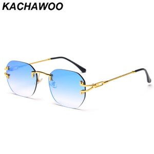 Солнцезащитные очки Kachawoo Rimless Men Square Ретро Солнцезащитные Очки для Женщин Металлические Металлические Зеленые Зеленое Зеленое Зеркало Весна 2021 Trending UV400