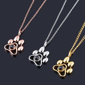 2020 Cat Dog Paw Pet Photo Projection Pendant Necklace Footprints 100 languages I Love You Choker Necklace for Women Men Jewelry Y1130