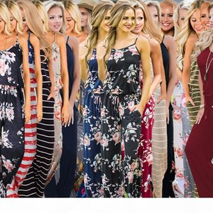 Women Floral Strap Jumpsuit 17 Styles Summer Sleeveless Rompers Boho Floral Print Jumpsuits Loose Pants Playsuits OOA6396