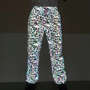 Women Sweatpant Flash Reflective Pants Joggers Female Hip Hop Dance Show Party Night Autumn Baggy Print Trousers Plus Size 3xl