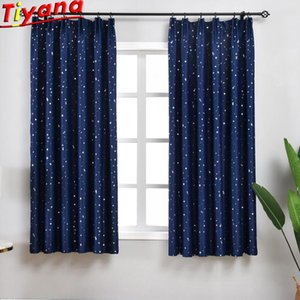 Blue Pink Dark Blue Yellow Green Curtains for Living Room 1PCS 100*200CM Stars Printed Blackout Curtains for Bedroom PC024#30