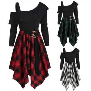 Party dress Womne dress Plaid Skew Neck Belted Handkerchief irregular Dresses Plus Size dresss vestidos robe femme 40