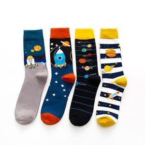 Mens Socks European and American Style Cartoon Jacquard Breathable High Sock Fashion Men Trendy Stockings Free Size 11 Colors