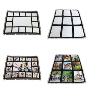 125 * 150 cm Sublimation Leere Decke 9 Paneele Square DIY Druckteppiche 15 Panel Quasten Sofa Rug Samt Checker 47JM G2