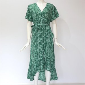 Womens Summer Bohemian Polka Dot Long Maxi Cocktail Party Beach Holiday Ruffles Sashes Dress Sundress S M L XL XXL