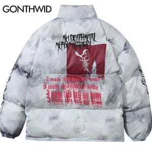 GONTHWID Creative Graffiti Ink Tie Dye Print Parka Jackets Streetwear Hip Hop Hipster Punk Rock Cotton Padded Puffer Parkas Coat 201120