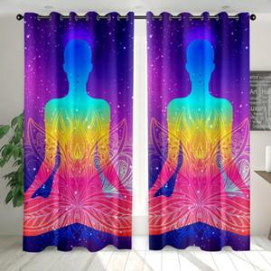 2 Panels Buddha Vorhang 3D YOGA Seven Chakren Print Blackout Window Drapes Polyester Stoffvorhang Benutzerdefinierte Mandala
