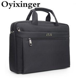 Oyixinger Homme Sacs Porte-documents pour ordinateur portable de 15,6 pouces Oxford Sac à main pour A4 Organisateur Document de grande capacité Sac à l'épaule pour hommes1