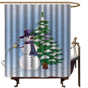 Christmas Extra Wide Curtain Snowman in The Winter with Mistletoe Present Top Hat Scarf Tree and Bird Fabric Shower
