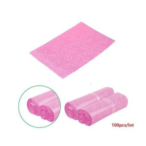 100pcs lot pink poly pe mailer express bag 38*52cm mail bags love heart envelope self-seal plastic bags for jewelry girl's gift bags