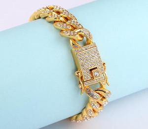 Mens Iced Out Diamond Fashion Bracelets Bangles High Quality Gold Cuban Link Chain Miami Bracelet Hip Hop Jewelry