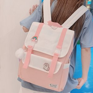 Women Oxford Cute Backpack Badge Student Female College School Bags Harajuku Buckle Girl Backpack Kawaii Book Ladies Bag Fashion A1113