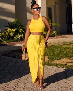 Two Pieces Yellow Cocktail Dresses Ankle Length Crop Top Simple Spandex 2 in 1 Night Party Dress Leg Split Prom Dresses