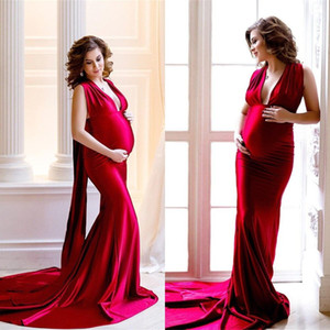 Red Mermaid Maternity Evening Dresses Satin Deep V Neck Long Baby Shower Prom Dresses Formal Party Dress P22