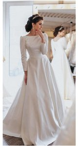 cheap simple 2021 bateau Wedding Dresses White A Line long sleeves with buttons ruched stain Sweep Train Bridal Gowns Dresses