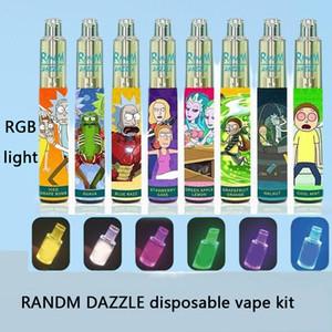 Authentic Randm Dazzle Dispositivo di pod monouso con luce RGB Light 2000 Sfuffs 6ml 5% USB 1100mAh Batteria Non ricaricabile Kit vape non ricaricabile non ricaricabile