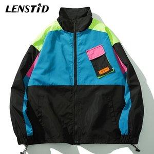 Lenstid Sonbahar Yeni Erkekler Hip Hop Streetwear Renk Blok Patchwork Cep Ceket Harajuku Vintage Rüzgarlık Büyük Boy Palto 201104