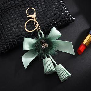 New Tassle Bow Knot Key Chain Fur Milk Clef For Holder Car Bag Key H With Llaveros Chaveiros Porte Jewelry Women Ring JllFvm Xqqom