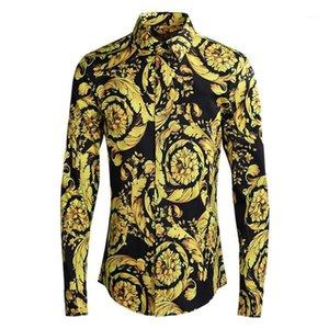 Camisas dos homens camisas de luxo camisa de luxo homens roupas de impressão masculino marca de qualidade algodão spandex slim casual para homem plus size m-4xl1