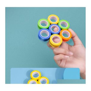 magnetic infinite cube decompression toy fidget spinners magnet block ring finger hand table toy rotating finger gyro character focus 7Z4Ok
