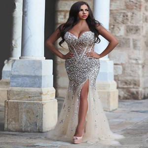 Luxury Crystals Plus Size Wedding Dresses Sweetheart Neck Rhinestones Split Side Bridal Gowns Mermaid Floor Length Long Beaded Formal Dress