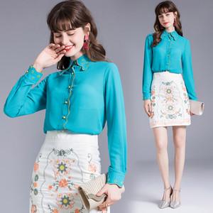 Женская рубашка с длинным рукавом вышивка блузка осень осень рубашка темперамент леди вершины бутик девушка рубашка