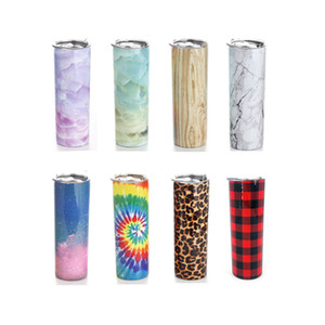 8 Colors Popular Marble Design Skinny Tumbler Double Wall Stainless Steel Vacuum Travel Wine Tumblers 20oz Celebrate Christmas