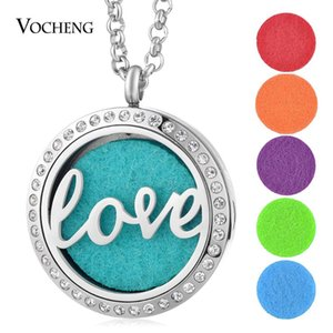 10pcs lot 316L Stainless Steel Essential Oils Diffuser Locket Pendant Love Crystal Magnetic Necklace with Felt Pads VA-275*10