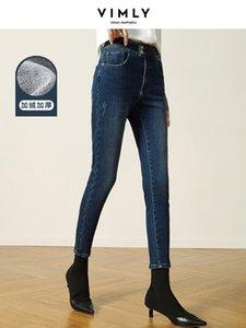 Vimly зимние женщины теплые джинсы 2020 мода высокие талии карманы молния густые женские брюки карандаш случайные брюки 70270 Y1214