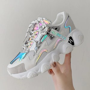 Women Platform Sneakers Ulzzang Fashion Tenis Female 5cm White Pink Thick Sole Walking Casual Shoes Woman Vulcanized Shoes 2021