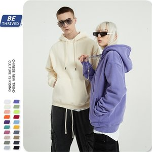 Be men's wear | autumn and winter new 330g solid color thickened Plush 20 color oversize Hoodie