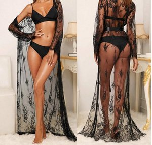 Women Lingerie Cardigan Shirt Top Beach Cape Bikini Cover Up Lace Kimono Sexy Perspective One-piece Pajamas Robe New