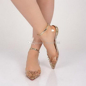 2020 Fashion Ladies Red Bottom Spiked PVC Spikes Flat Ballerinas Shoes High Quality Pointed Toe Studs Ankle Strap Women Walking Flats EU 42