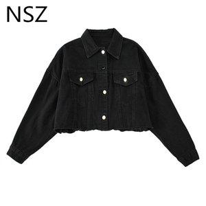 NSZ women black oversized jeans jacket loose tassel elastic hem denim coat fall fashion outerwear steetwear top 2020