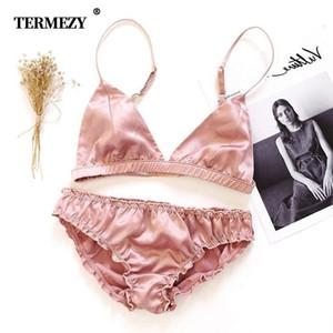 Termezzy Femmes Brialette Ensemble UltraChin Confortable Lingerie intime Fil Free Brassiere Triangle Triangle Coupe Sous-gorge et Set de culotte Y200115