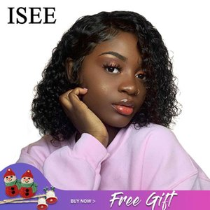 Lace Wigs Water Wave Bob Human Hair Brazilian 360 Frontal Wig ISEE Closure Short Front For Women