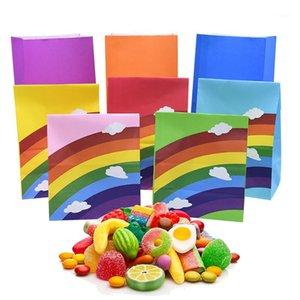 5pcs / set arcobaleno cloud pattern kraft carta wrapping bag biscotto caramelle sacchetto di imballaggio per la festa di compleanno di nozze Deco forniture1