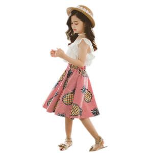 ML26468 Girls' two-piece suit flower halter top, cool top, pineapple print skirt, summer dress